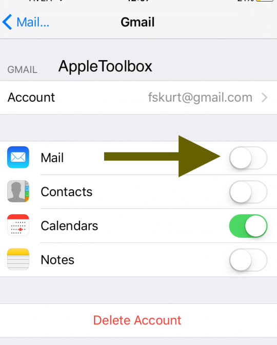 Turn off Mail in Settings