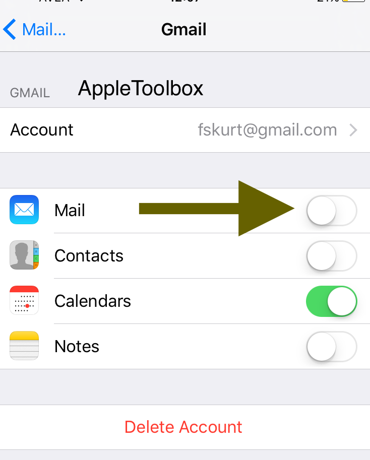 get rid of email notifications on iphone