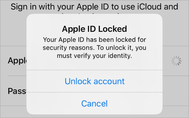 Apple ID disabled or locked alert from iPhone