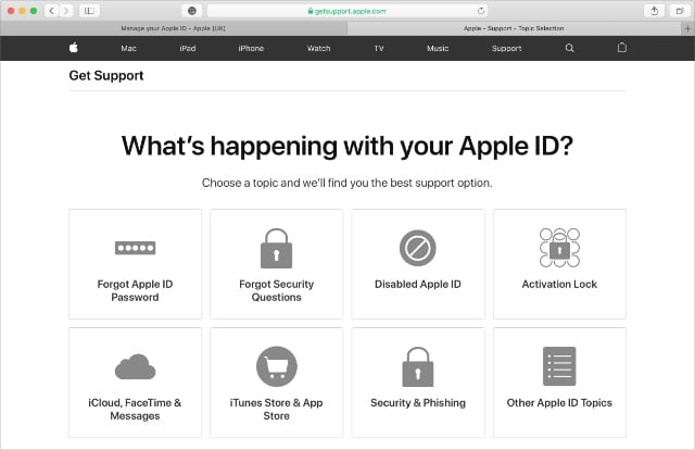 Apple Support website with option for Disabled Apple ID