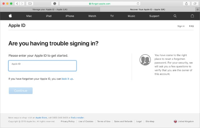 Apple iForgot website asking for Apple ID username