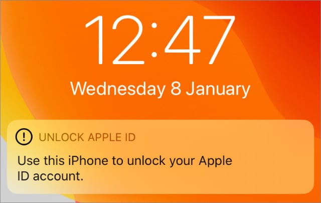 Unlock Apple ID notification on iPhone