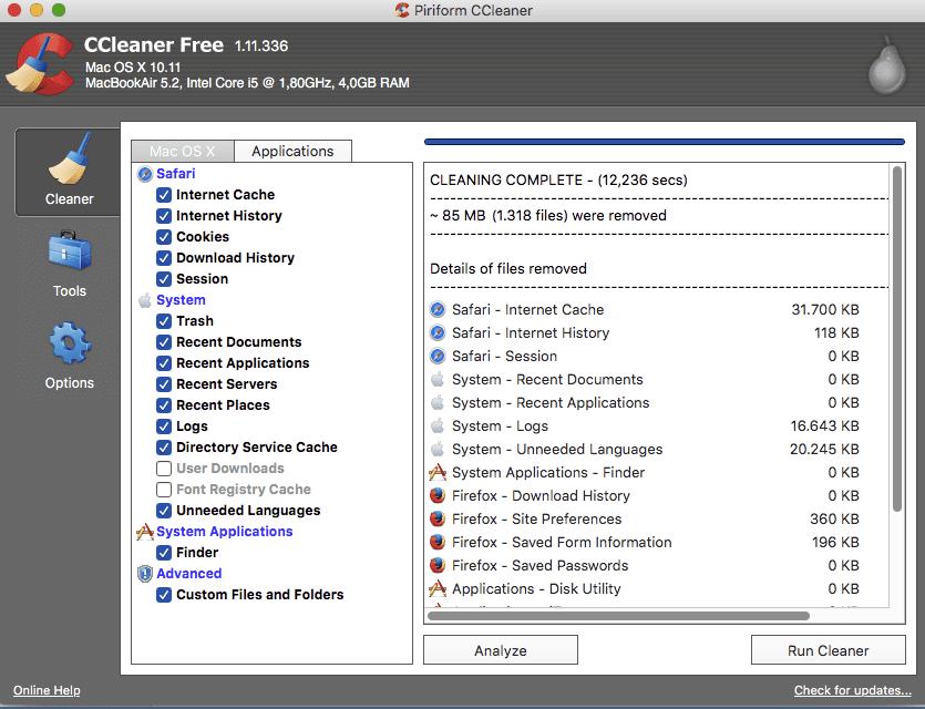 crap cleaner for mac