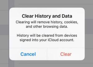 Safari Clear History and Data