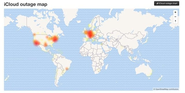 live iCloud outage map on down detector