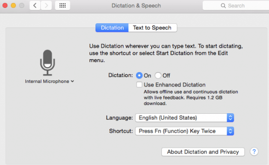 Enable Dictation