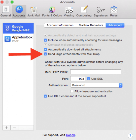 Enable Mail Drop feature
