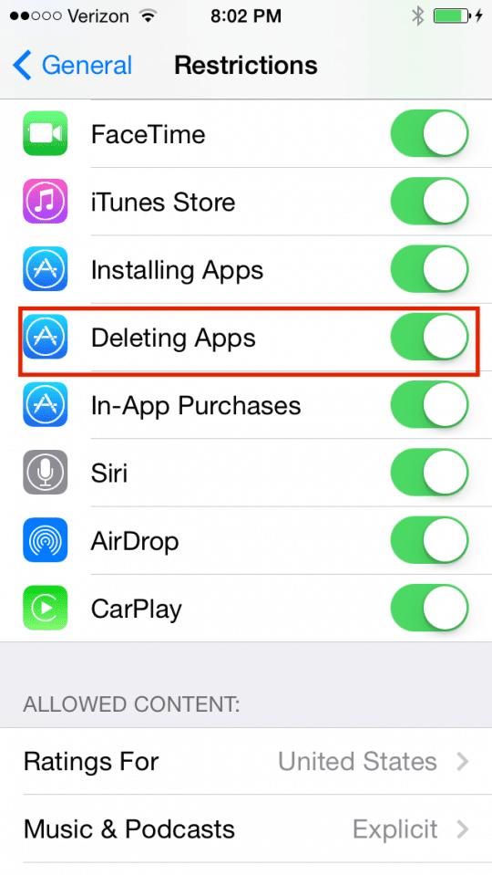 Deleting App Setting