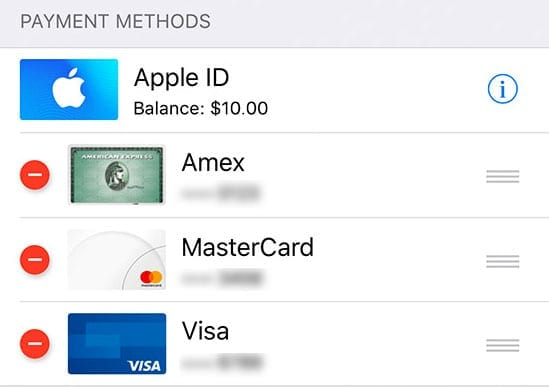 delete a payment method from Apple ID on iPhone