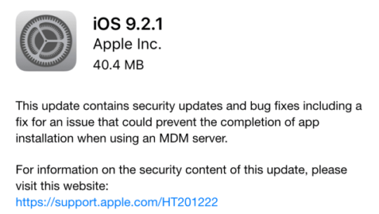iOS 9.2.1 release