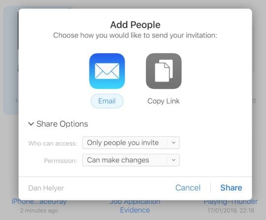 Share options in iCloud Drive