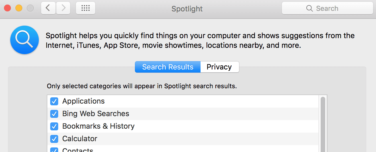 Spotlight preferences