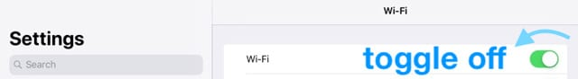 toggle wifi off on iOS iPad