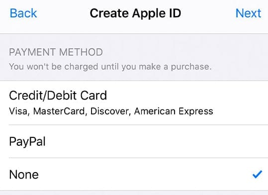 payment method is none for new apple id
