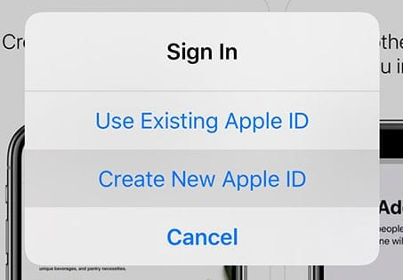iPhone Create New Apple ID