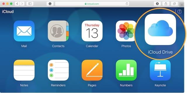 iCloud Drive option on website