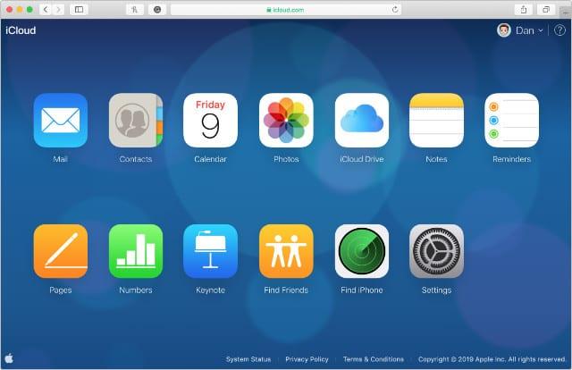 iCloud website home screen