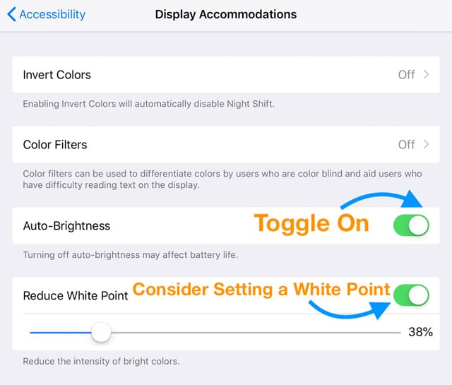 auto-brightness and reduce white point on iPad