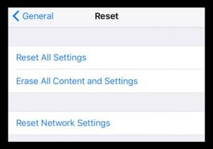 Reset settings options in iOS or iPadOS.