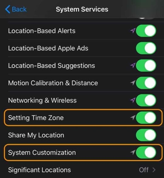 setting time zone and system customization in location services