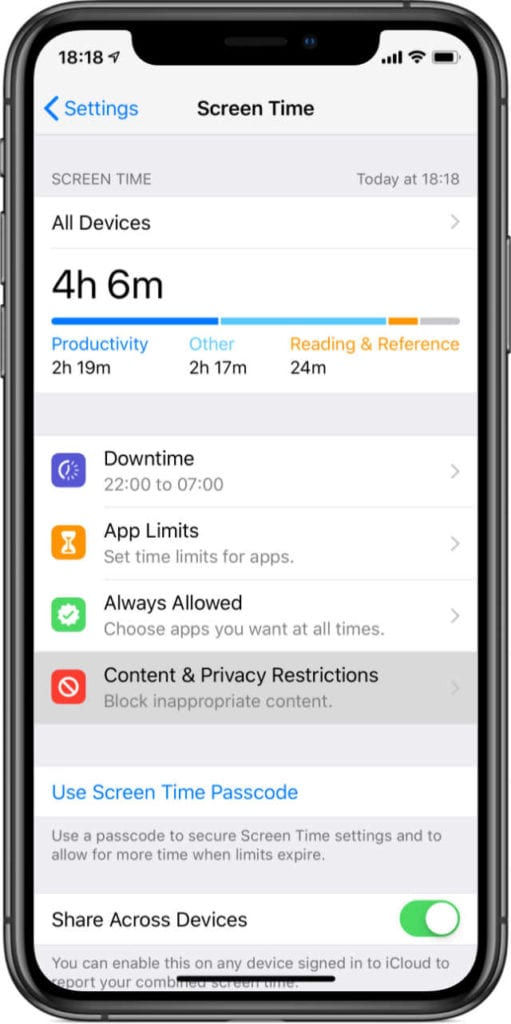 iPhone X Screen Time Content & Privacy Restrictions Settings