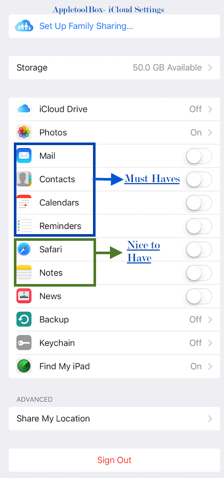 iCloud setting choices
