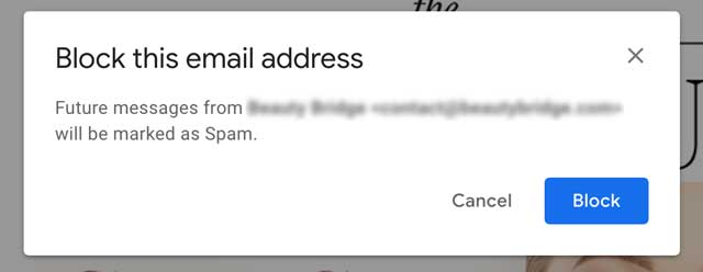 Gmail confirmation prompt to block a sender
