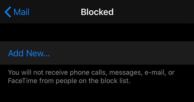 iOs 13 and iPadOS add new contact to blocked list