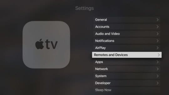 Settings for Remotes on Apple TV