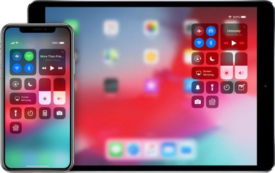 control center on iPhone and iPad iOS 12