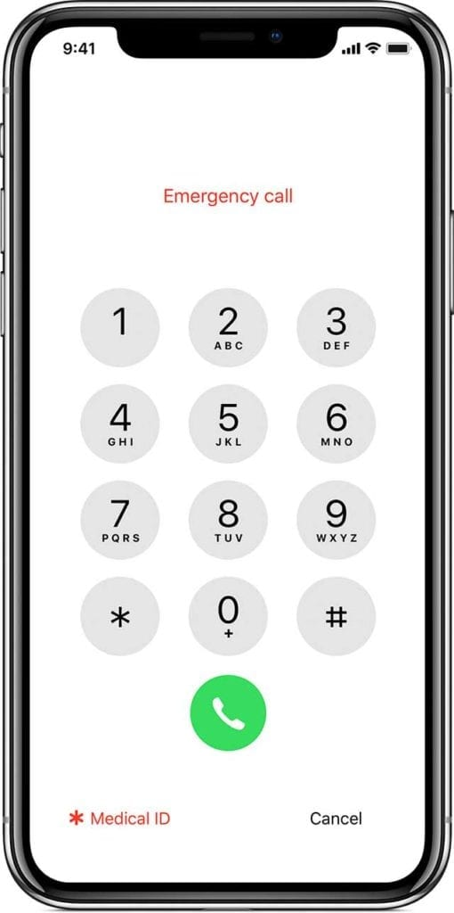 iPhone lock screen for emergency and medical ID
