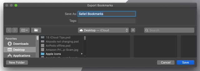 export and save safari bookmarks on macOS