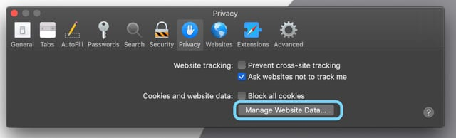 Safari on Mac Manage Website Data
