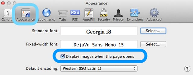 safari mac display images when page opens