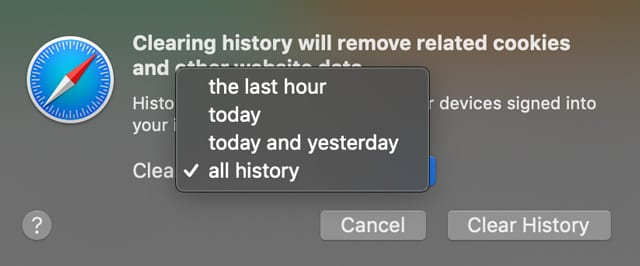 Choose how far back you want your browsing history cleared in Mac Safari