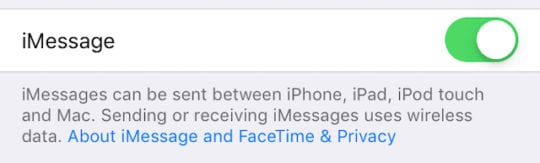 iMessage option in settings