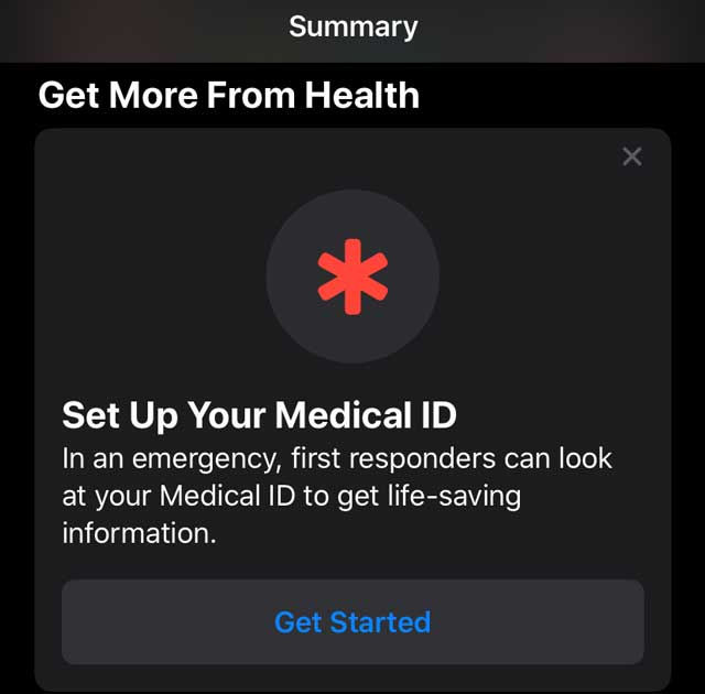 Health app set up Medical iD on iPhone