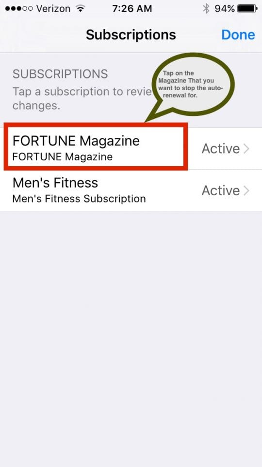 cancel automatic magazine subscriptions in iTunes