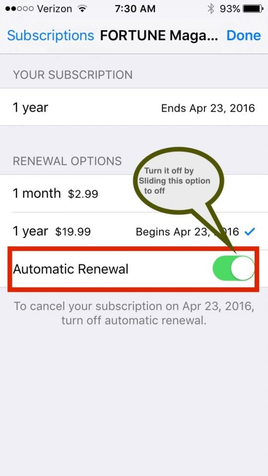 Cancel Automatic Magazine subscriptions on iTunes