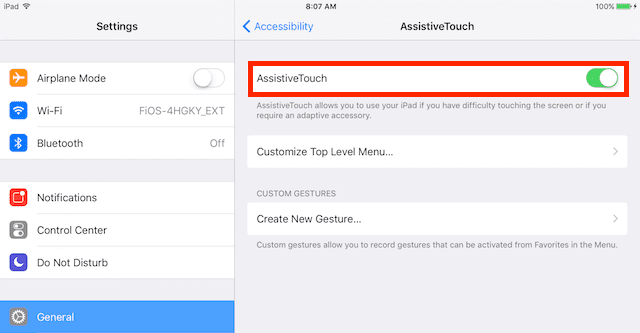 AssistiveTouch toggle on