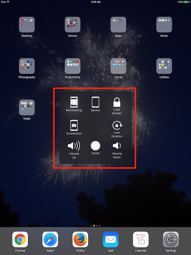 AssistiveTouch On Screen Menu Icons