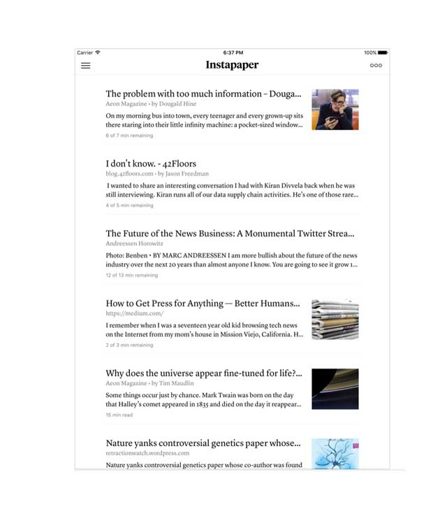 instapaper screen on an iPad