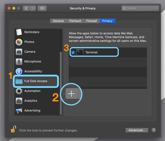 Grant Full Disk Access to an App in macOS Mojave