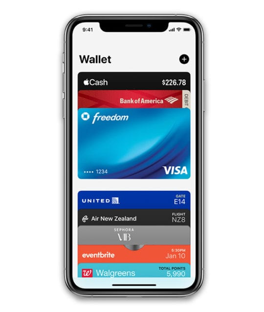 Wallet app on iPhone