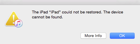 ipad cannot be restored, no device found