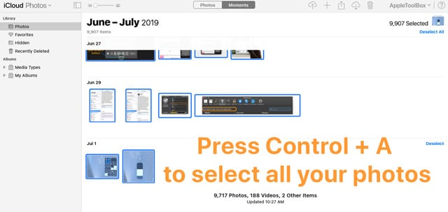 iCloud.com select all photos with control + A on Windows PC