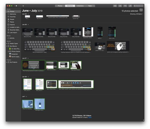 iCloud.com select consecutive photos using Mac and Shift key