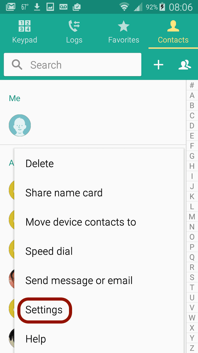 Setting in Android contacts