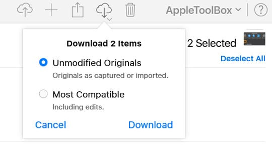 icloud.com download options for photos unmodified or most compatible