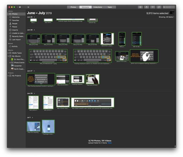 icloud.com select all photos from a Mac